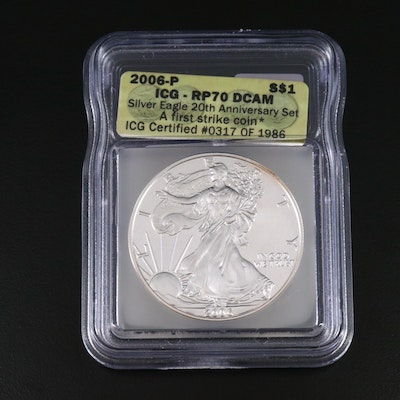 ICG Graded PR70DCAM 2006-P Reverse Proof American Silver Eagle