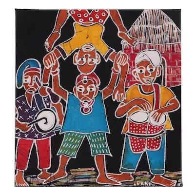 """Lekan O. Nigerian Batik Textile Art """"Acrobatic Display,"""" 2001"""