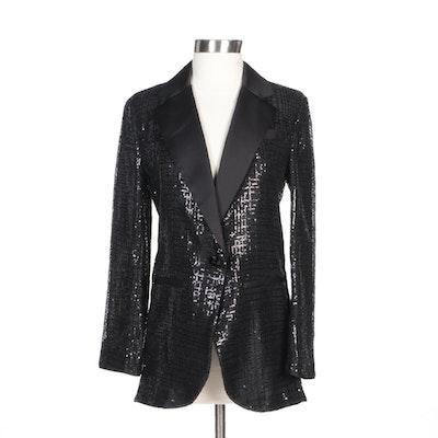 Emporio Armani Black Sequined and Satin Evening Jacket