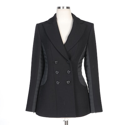 Emporio Armani Black Double-Breasted Coat with Quilted Sides