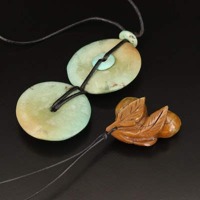 Chinese Turquoise Bi Disk and Apricot Pendant Necklaces