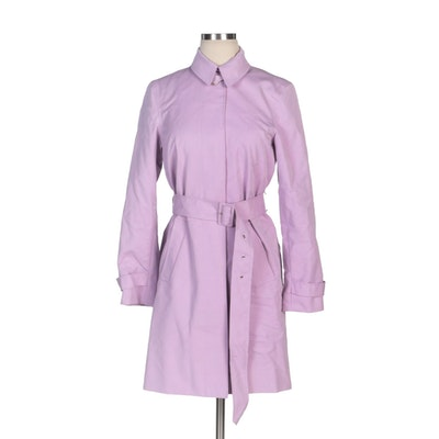 Lauren Ralph Lauren Lilac Single-Breasted Button-Front Coat with Belt