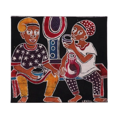 "Lekan O. Nigerian Batik Textile Art ""After Hour,"" 2008"