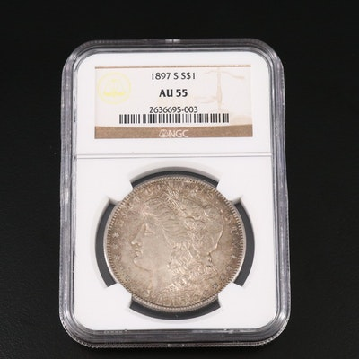 NGC Graded AU55 1897-S Morgan Silver Dollar
