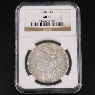 NGC Graded AU55 1884 Morgan Silver Dollar