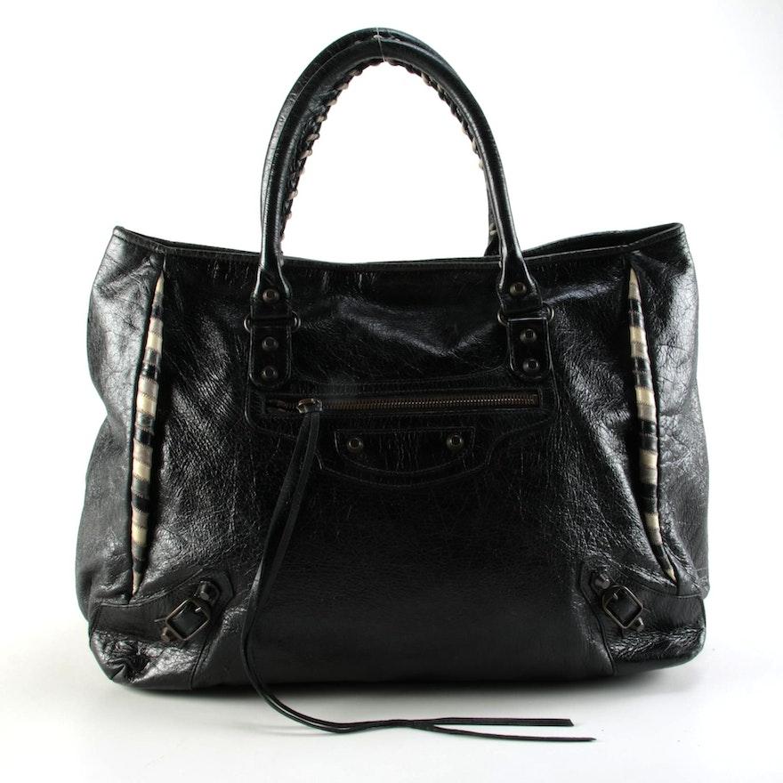 Balenciaga Sunday Twist Black Leather Tote