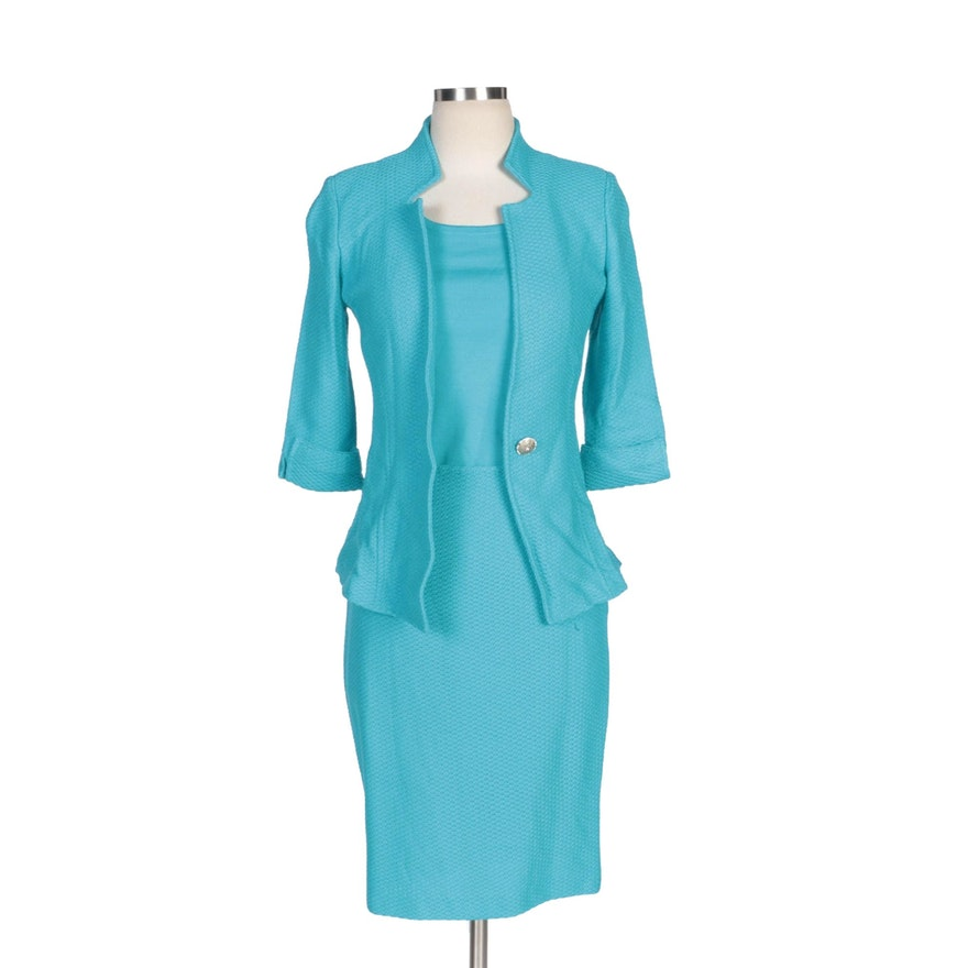 St. John Turquoise Knit Skirt Suit with Matching Knit Shell Top