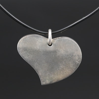 Mexican Sterling Heart Pendant on Coated Wire Necklace