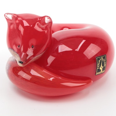 "Langham Art Glass ""Resting Fox"" Figurine"
