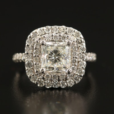 14K 3.32 CTW Diamond Double Halo Ring with GIA Report