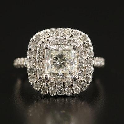 14K 3.32 CTW Diamond Double Halo Ring with GIA Report