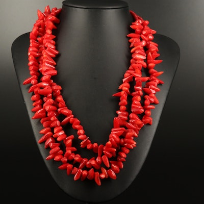 Sterling Silver Multi Strand Coral Necklace