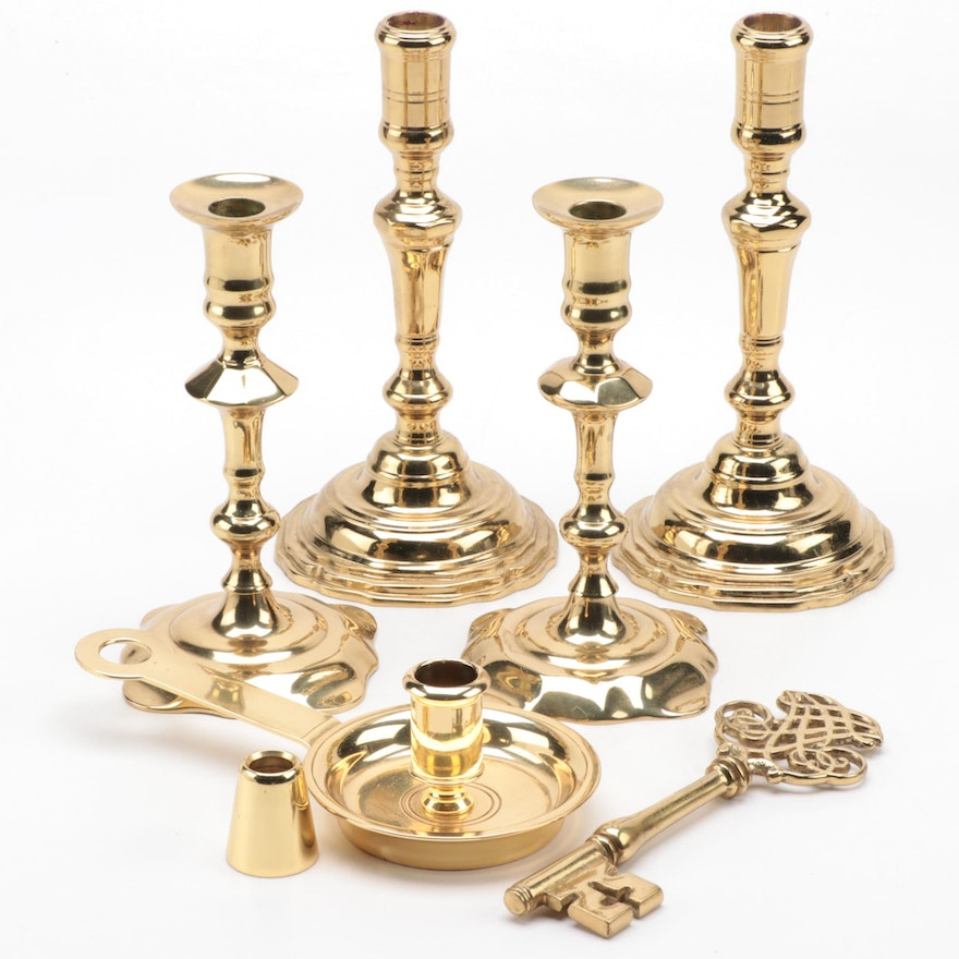 Virginia Metalcrafters and Harvin Candlesticks with Other Brass Accessories