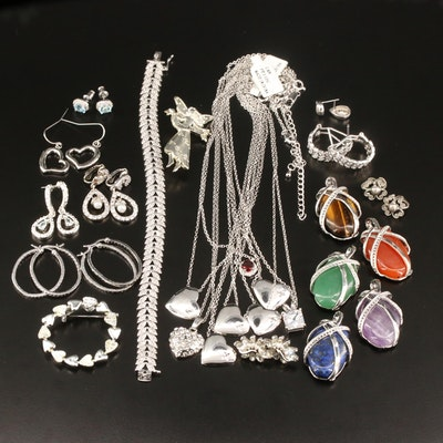 Jewelry Featuring Heart Necklaces, Diamonds and Gemstones