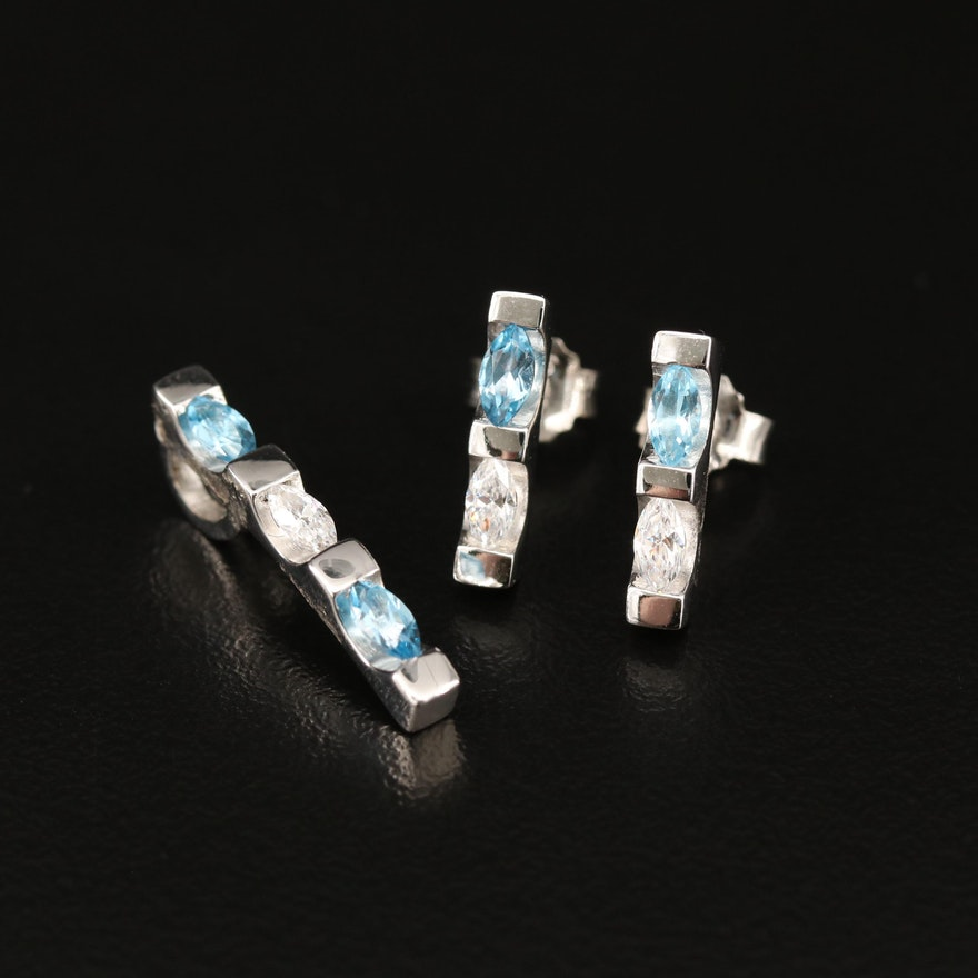 Sterling Topaz and Cubic Zirconia Pendant and Drop Earrings