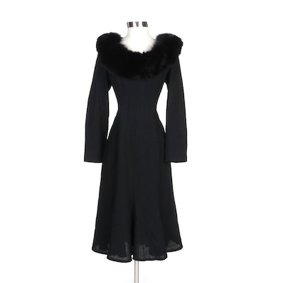 Lilli Ann Black Wool Blend Evening Dress with Fox Fur Trim