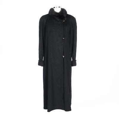Portrait Black Wool Blend Coat with Faux Fur Trim