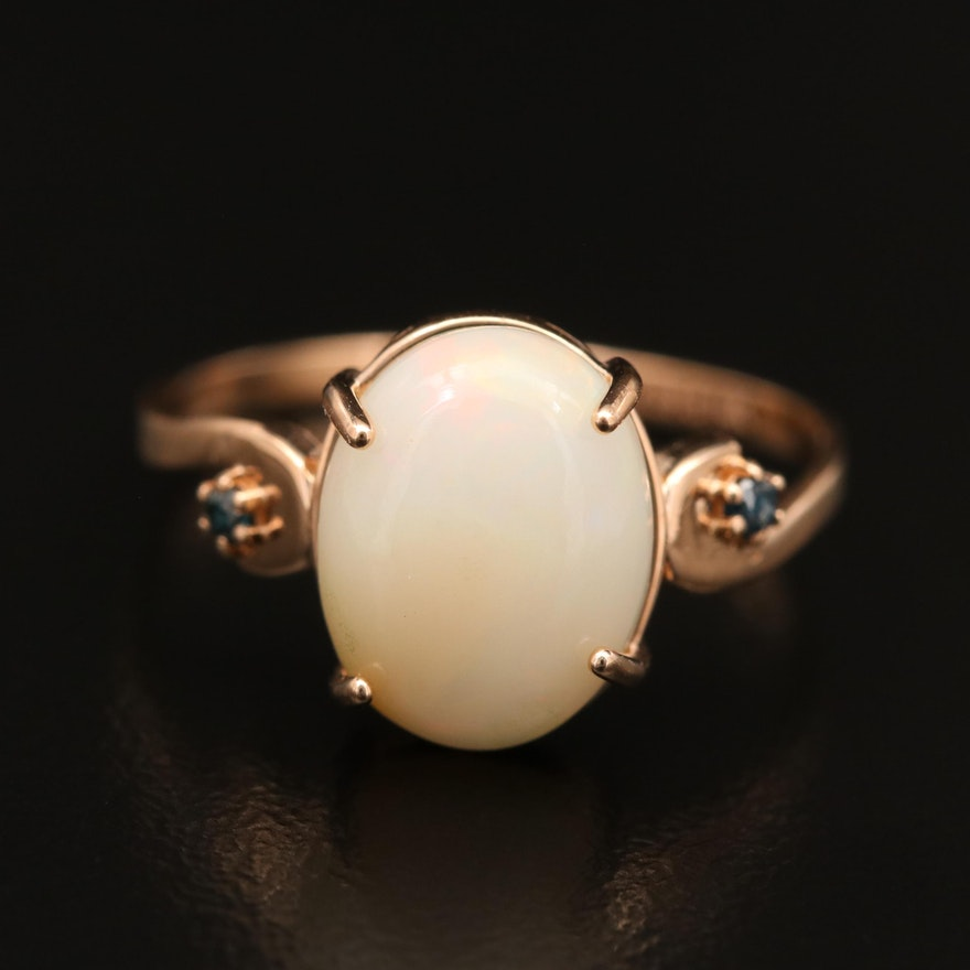 14K Opal and Diamond Ring with Scroll Shoulders