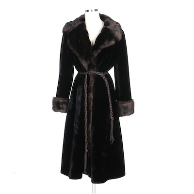Borgaza Styled by Fairmoor Black/Brown Faux Fur Coat with Braided Tie Belt