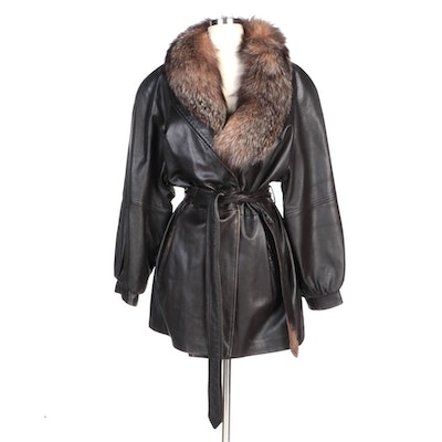 Leather Coat with Raglan Sleeves, Tie Belt, and Removable Fox Fur Collar