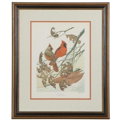 "John A. Ruthven Offset Lithograph ""Cardinals,"" Late 20th Century"