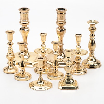 "Baldwin ""Historic Deerfield Collection"" and Other Brass Candlesticks"