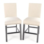 Pair of Contemporary Upholstered Counter Stools with Nailhead Trim
