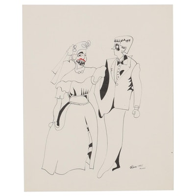 Eduardo Oliva Surrealist Ink Drawing of Bride and Groom, 1985