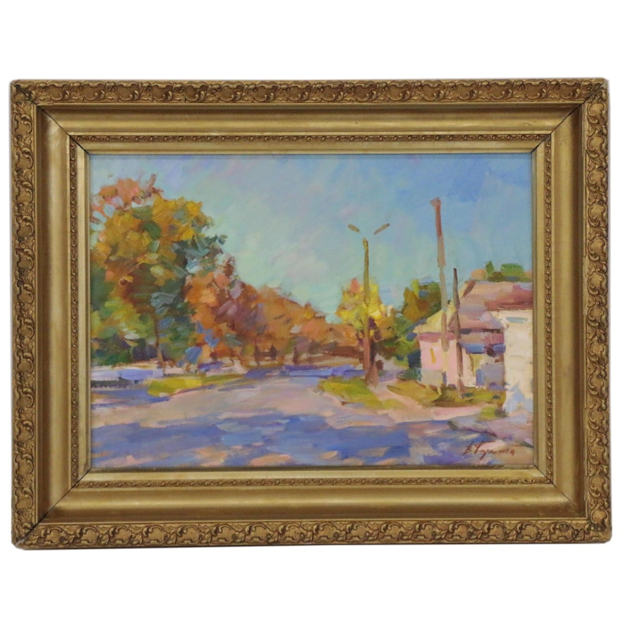 Vyacheslav Pereta Oil Painting of Autumnal Street Scene, Late 20th Century