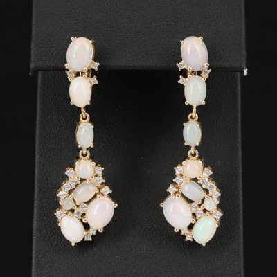 Sterling Silver Opal and Cubic Zirconia Dangle Earrings