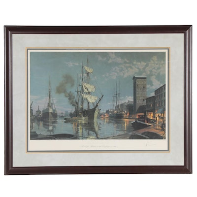 "John Stobart Offset Lithograph ""Cleveland,"" Late 20th Century"