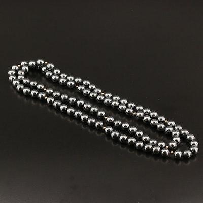 Endless Hematite Beaded Necklace
