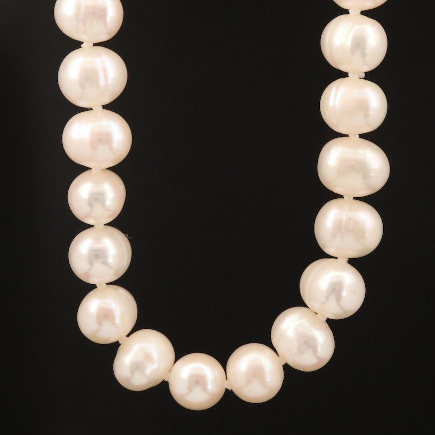 Oval Pearl Necklace with 14K Clasp