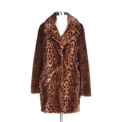 Kensie Reversible Faux Fur Leopard Print Coat with Notched Lapel