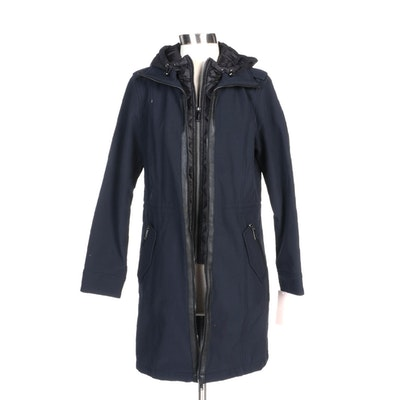 BCBGeneration Navy Zipper-Front Coat with Black Trim and Quilted Hood
