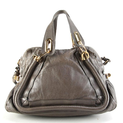 Chloé Paraty Taupe Brown Grained Leather Two-Way Satchel