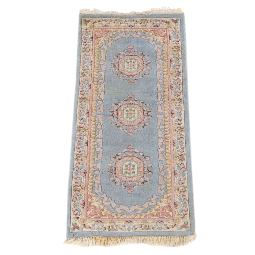 "2'5 x 5'10 Hand-Knotted Indian ""Aubusson"" Carved Pile Accent Rug"