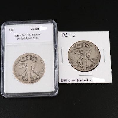 Key Dates 1921 and 1921-S Walking Liberty Silver Half Dollars