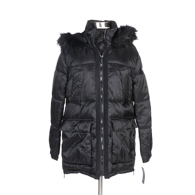 Rachel by Rachel Roy Black Down Puffer Coat with Fur Trimmed Hood