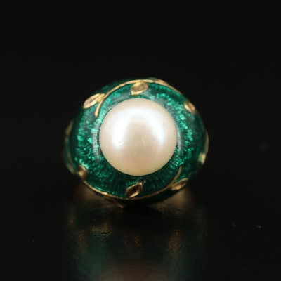 18K Pearl and Enamel Ring