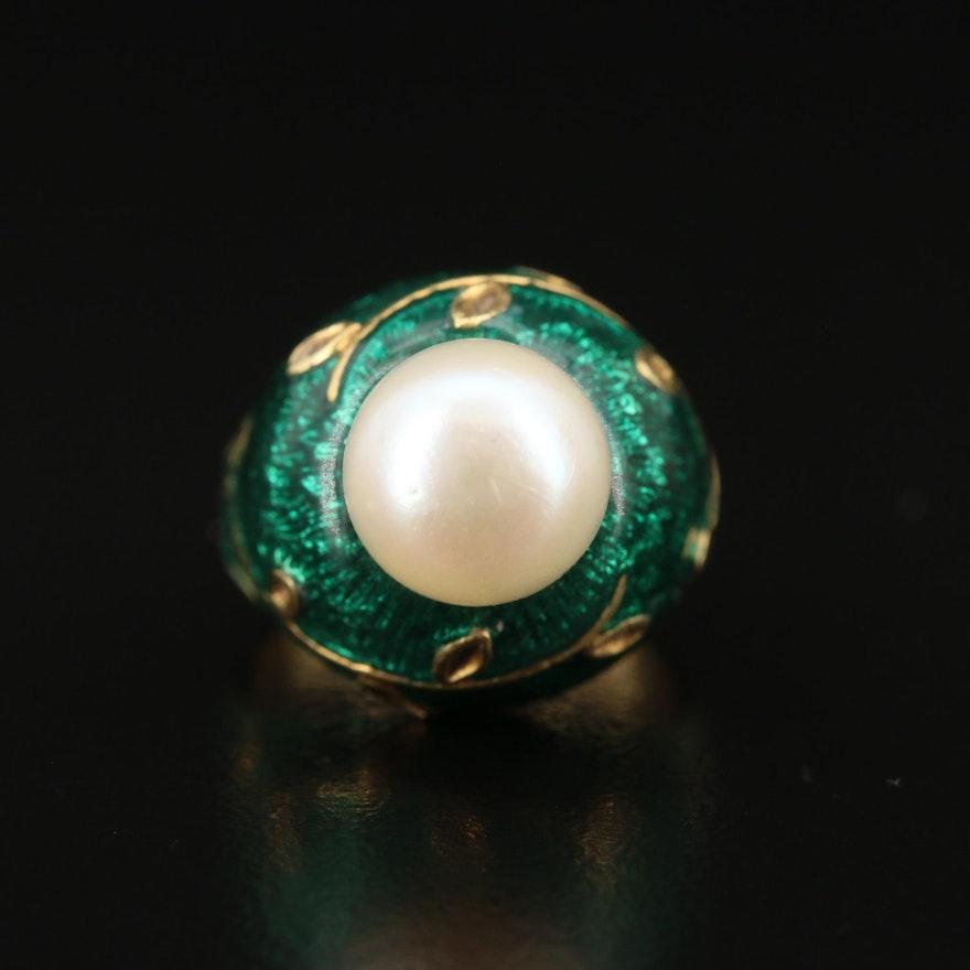 18K Pearl and Enamel Ring