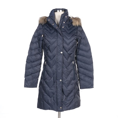 Andrew Marc New York Navy Down Puffer Coat with Faux Fur Trimmed Hood