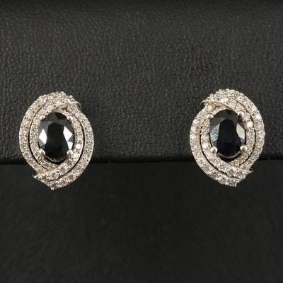 14K 2.10 CTW Sapphire and Diamond Earrings