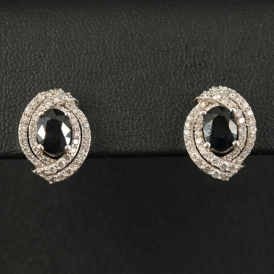 14K 2.10 CTW Sapphire and Diamond Earrings