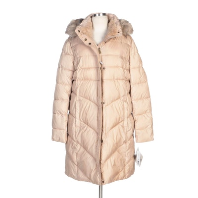 Larry Levine Down Puffer Coat with Faux Fur Trimmed Hood