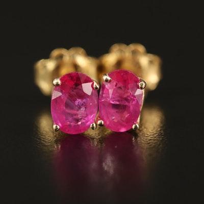 14K 2.10 CTW Pink Sapphire Stud Earrings