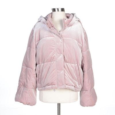 Alo Yoga Pink Cropped Velvet Puffer Coat