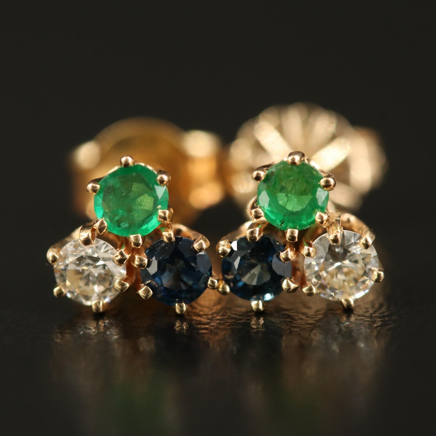 14K Diamond, Sapphire and Emerald Stud Earrings