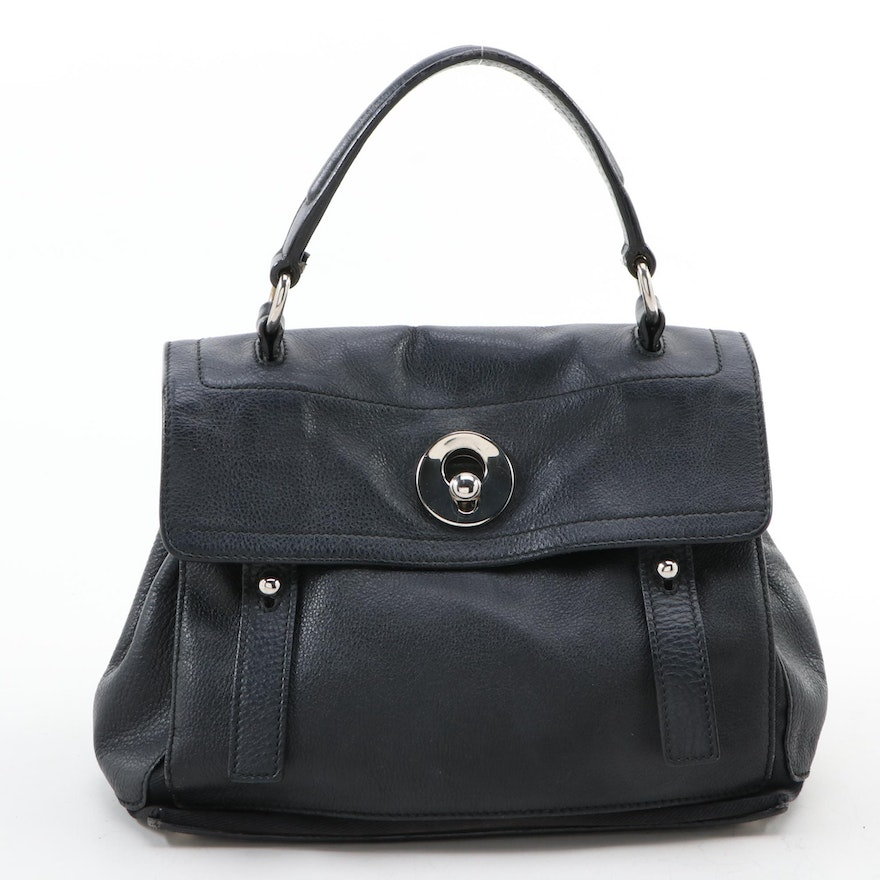 Yves Saint Laurent Small Muse Two Satchel in Black Pebbled Calfskin Leather