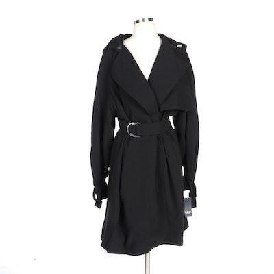 Rachel by Rachel Roy Black Belted Mid-Length Hooded Trench Coat